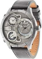 Police Gents grey leather strap watch