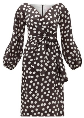 Carolina Herrera Sweetheart-neckline Polka-dot Silk Dress - Black White