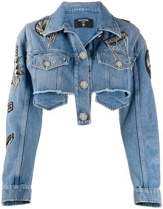 Balmain Logo Patches Cropped Denim Jacket
