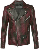 Route Des Garden - woven biker jacket - men - Leather/Viscose - 48