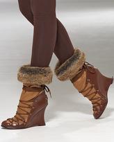 Laced faux-fur trim boot
