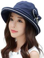 Siggi UV50+ 100% Linen Summer Sunhat for Women Bucket Crushable Wide Brim Hats w/ Chin Strap Navy
