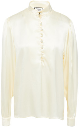 Paul & Joe Faux Pearl-embellished Silk-satin Blouse