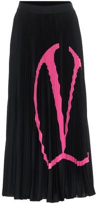 Valentino VLOGO pleated jersey midi skirt