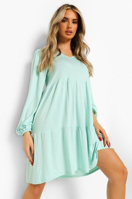 boohoo V Neck Long Sleeve Smock Dress