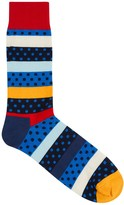 Happy Socks Dotted Stripe Cotton Blend Socks