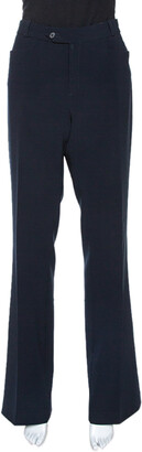 Joseph Navy Blue Stretch Crepe Rocker Straight Leg Pants L