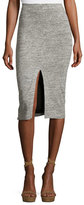 Alice + Olivia Spiga Slit-Front Knit Midi Pencil Skirt, Gray