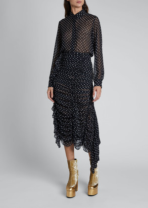 Dries Van Noten Chow Polka-Dot Silk Top