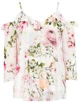 Wallis Cream Floral Cold Shoulder Top