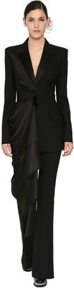 Alexander McQueen Draped Light Wool & Silk Satin Jacket
