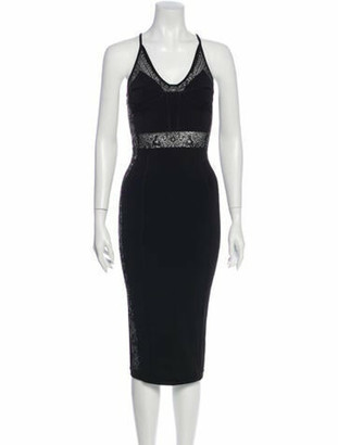 Balmain V-Neck Midi Length Dress Black