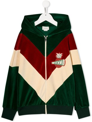 Gucci Kids Panelled Logo Patch Hoodie