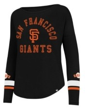 '47 San Francisco Giants Women's Encore Long Sleeve Stripe Crew Sweatshirt