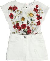 Dolce & Gabbana Floral Print Cotton Jersey & Denim Dress