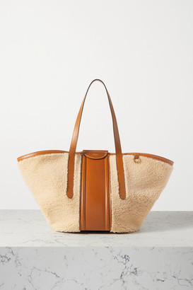 Chloé Fredy Medium Leather-trimmed Shearling Tote - Camel