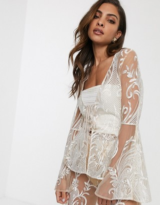 ASOS DESIGN embroidered jacket co-ord with lace up detail