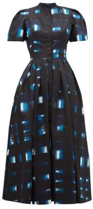 Alexander McQueen Hand-printed Check Cotton-poplin Dress - Womens - Blue Multi