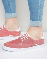 Asos Boat Shoes in Red Chambray