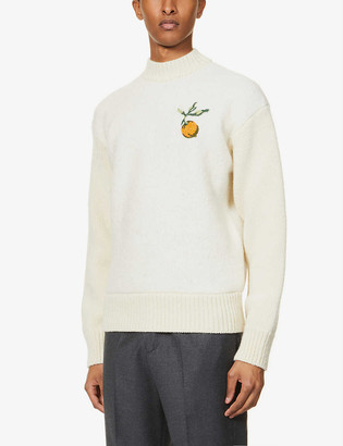 Off-White Pascal-print graphic-embroidered wool and alpaca-blend jumper