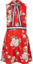 River Island Womens Red floral pussybow sleeveless shirt dress