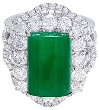 Lc Collection Jade Diamond jade 18k gold scallop ring