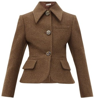 Miu Miu Flared-hem Wool-felt Jacket - Brown