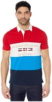 Tommy Hilfiger Adaptive Custom Fit Short Sleeve Rugby (Haute Red/Multi) Men's Clothing