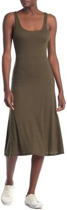 Velvet Torch Ribbed Tank A-Line Midi Dress