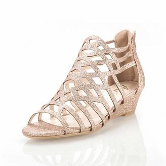 Rosegold AIIT Women's High Block Heels Sandals for Women 8