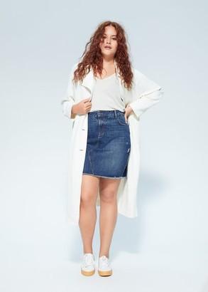 MANGO Violeta BY Denim miniskirt dark blue - S - Plus sizes