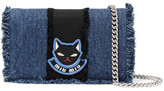 Miu Miu Delice Mini Appliquéd Frayed Denim Shoulder Bag - Blue