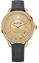 Swarovski aila day women's Quartz Watch with Gold Dial Analogue Display and Black Leather Strap 5221141