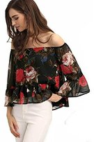 Hemlock Women's Off Shoulder Flower Tops Loose Chiffon Blouse Shirt (M, Black)