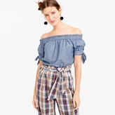 J.Crew Off-the-shoulder chambray top