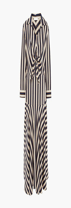 Sandro Vilna Tie-front Striped Twill Maxi Dress