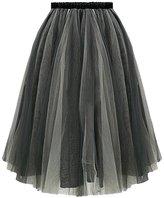Urban CoCo Women's Tutu Ballet Sheer Ruffle Mesh Tulle Overlay Skirt (L, )