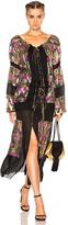 Roberto Cavalli Contrast Panel Printed Dress