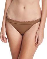Letarte Whipstitch Solid Swim Bikini Bottom, Brown