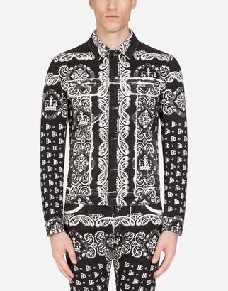 Dolce & Gabbana Denim Jacket In Bandana Print
