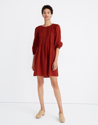 Madewell Petite Embroidered Pintuck Mini Dress