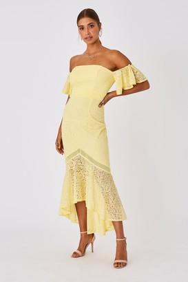 Little Mistress Tandi Lemon Zest Lace Bardot Maxi Dress