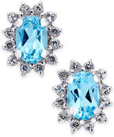 Macy's Blue Topaz (1 ct. t.w.) and White Topaz (1/4 ct. t.w.) Stud Earrings in 10k White Gold