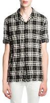 Saint Laurent Plaid Button-Front Shirt, Black/White