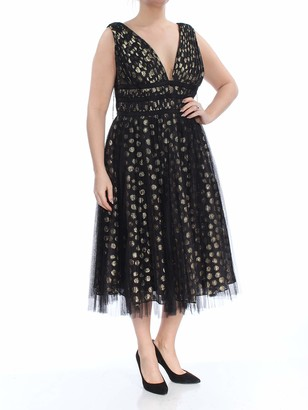Adrianna Papell Women's Size Metallic Clip Dot Cocktail Dress Plus