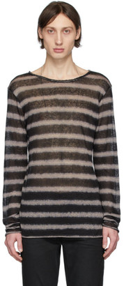 Balmain Black and Beige Striped Long Sleeve T-Shirt