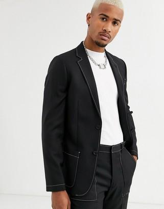 Asos Design DESIGN slim suit jacket in black with contrast white stitch detail