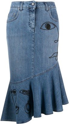 Moschino Cornley Embroidered Denim Skirt