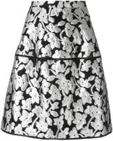 Oscar de la Renta metallic floral skirt - women - Silk/Nylon/Polyester - 8