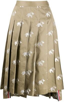 Thom Browne Lion Icon Embroidered Pleated Skirt